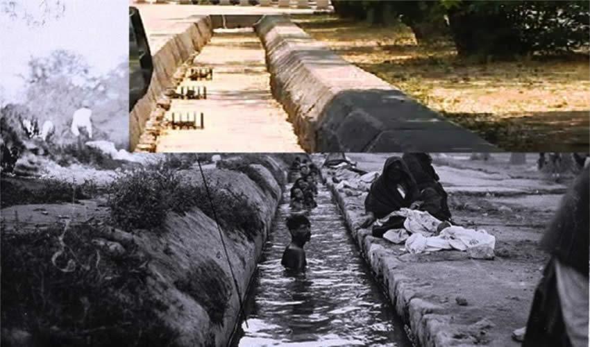 Abajo la antigua acequia del Ojocaliente a fines del siglo XIX y arriba los vestigios que se localizan en la Alameda (Fuente: https://www.facebook.com/search/top/?q=aguascalientes%2C%20ags.%20m%C3%A9xico)