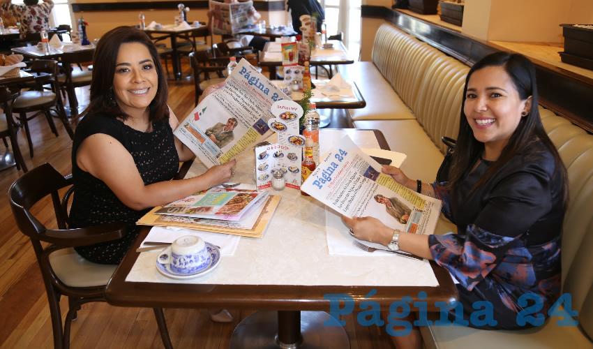 En Sanborns Francia desayunaron Elsa Amabel Landín Olivares y Norma Zamora Rodríguez, diputadas locales