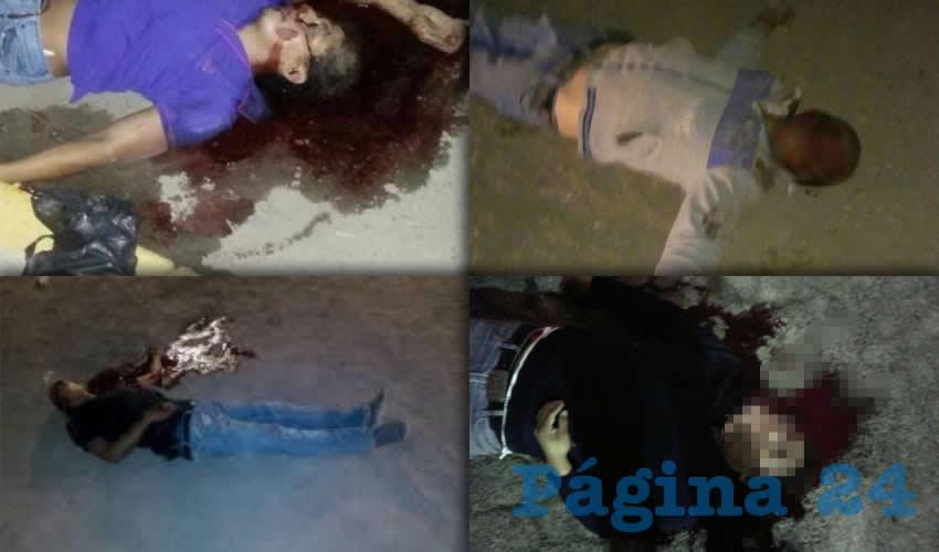 Los cuerpos de los jovenes masacrados