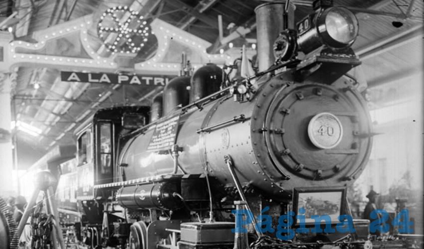 La máquina 40 en los talleres de Aguascalientes, año aproximado 1913 (Foto: INAH)