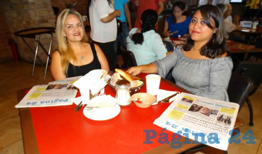 Paola Vázquez y María del Carmen Valdez Campos almorzaron en el restaurante Las Antorchas