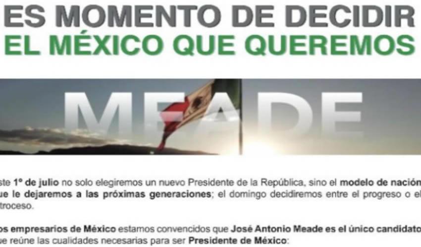 Magnates Publican Desplegado a Favor de José Antonio Meade