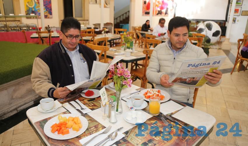 En el restaurante del Gran Hotel Alameda almorzaron Alejandro Solís Reynoso y Paulo Galván Castro