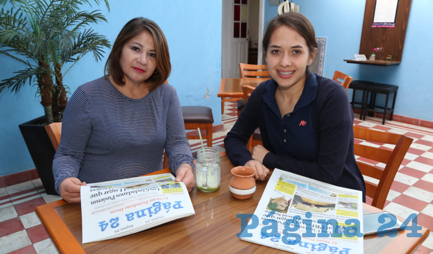 María de Jesús Villalpando Gómez y Mariel Durán Villalpando compartieron el pan y la sal en el restaurante Azul Catedral