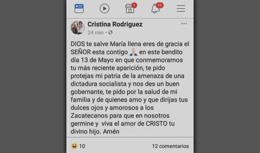 La esposa de Tello siempre estuvo calumniando y denostando a AMLO, con la intención de evitar que ganara la Presidencia de México; obvio, no lo logró y hoy se come sus propias palabras, ¿cómo reaccionará Cristina Rodriguez cuando venga López Obrador a Zacatecas en gira de trabajo?