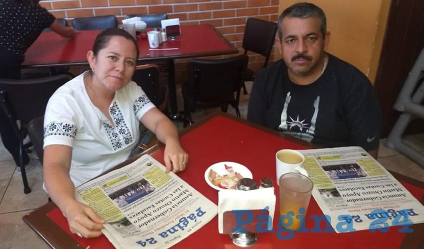 Liliana Leyva y Alejandro Silva almorzaron en el restaurante Las Antorchas