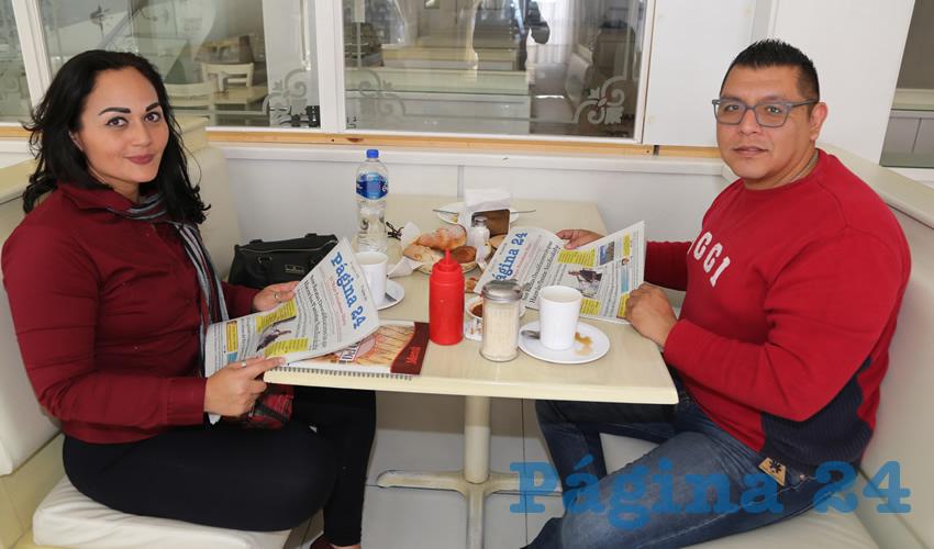 En el restaurante Del Centro desayunaron Saraí Mendoza Reyes y Pedro Cardona Camacho