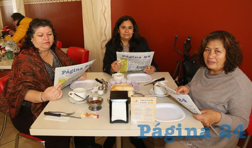 En el restaurante Mitla compartieron el pan y la sal Rayo Sariñana Soria, Sara Eugenia Díaz Reza y María Elena Reyes Castillo