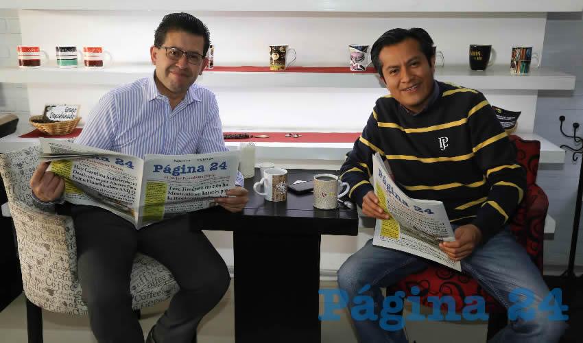 En Café San Marcos departieron Guillermo Sumara Barba y Gonzalo Pérez Sánchez
