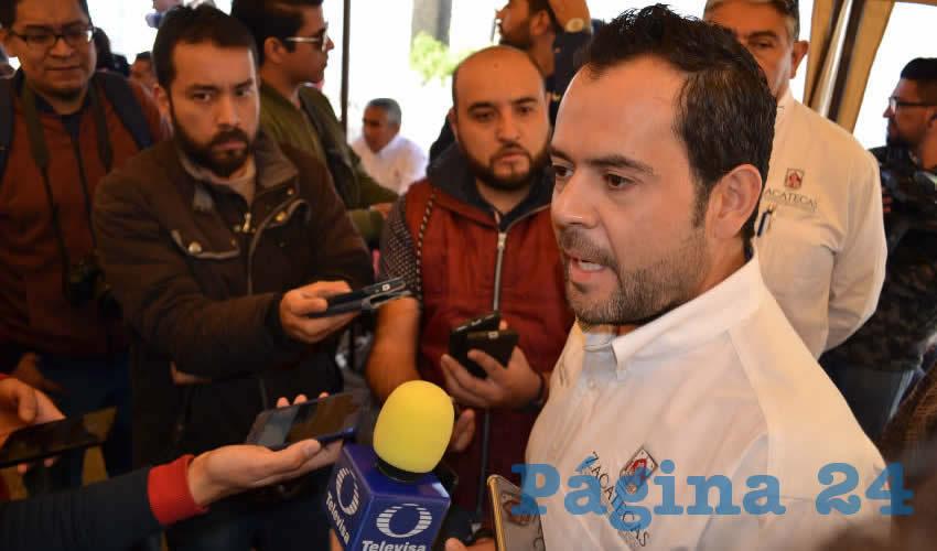 Ulises Mejía Haro, presidente municipal de Zacatecas, expuso que el ayuntamiento no ha incumplido absolutamente en nada (Foto Merari Martínez)