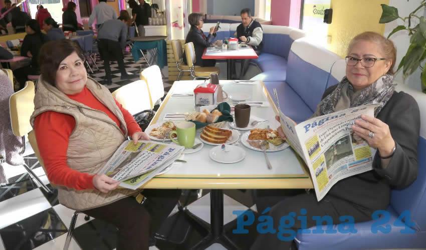 En el restaurante del Hotel Medrano almorzaron Marcela Santoyo Barrera y Lupita Medina Camacho