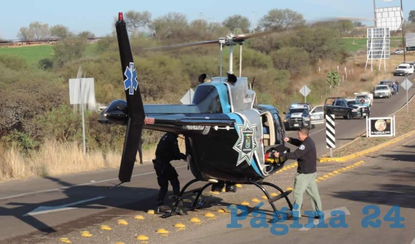 En el helicóptero Halcón 1, María Virginia Pavia Amador fue trasladada a la Clínica 1 del IMSS