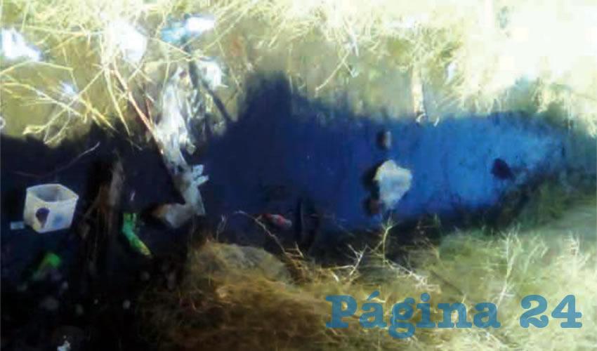 Vapores de gasolina en canal ya enfermaron a niños de la secundaria general 12, en el fraccionamiento Colonias del Roble, en Tlajomulco; incluso el canal donde se encuentra diluido el combustible está a una distancia de alrededor de cinco metros, rodeado de casas habitación/Fotos: Rafael Hernández Guízar