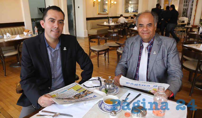 En Sanborns Francia compartieron el pan y la sal Manuel Alejandro González Martínez, secretario de Desarrollo Rural y Agroempresarial; y Eugenio Herrera Nuño