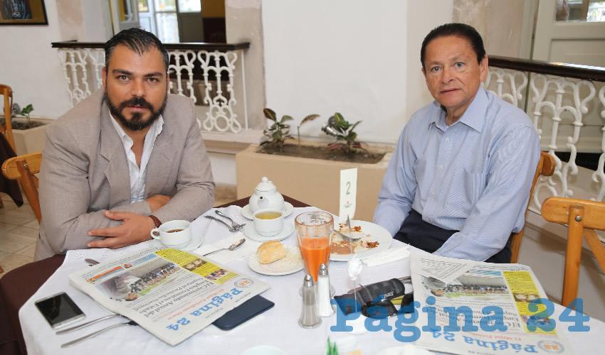 En el restaurante del Hotel Gran Alameda almorzaron Walter Schadtler Contreras y Héctor Manuel Aceves Rubio, director del Instituto del Deporte del Estado de Aguascalientes