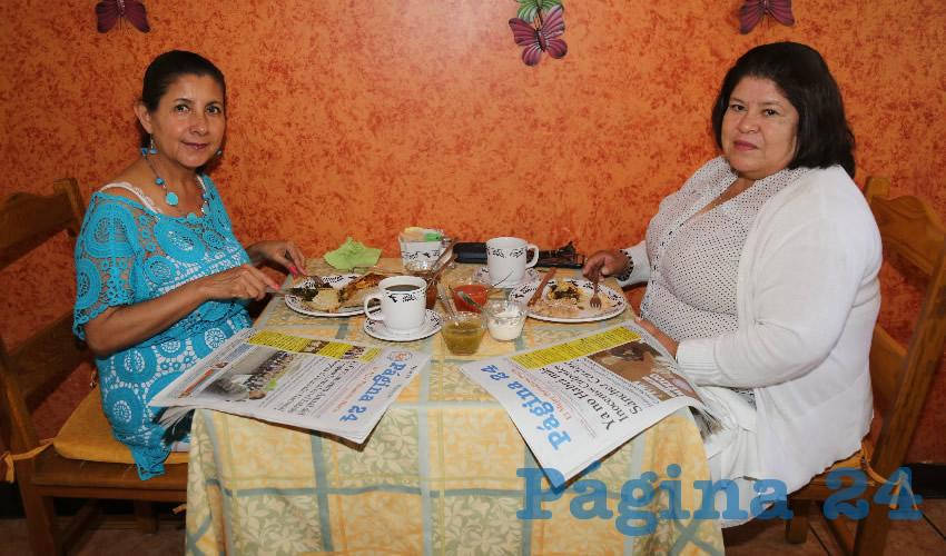 En el restaurante La Estación compartieron el pan y la sal Mari Tafoya Cervantes y Angélica Loera Ramosv