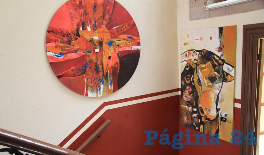 """Esta exposición lleva por título """"Atisbos de colores primarios mezclados"""", y participan los artistas Rosa Martha Báez, Rogelio Aguilar, Leopoldo Elías Smith y Luis Rolando Ortiz (Foto Rocío Castro Alvarado)"""