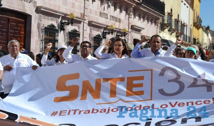 Soralla Bañuelos de la Torre, dirigente del Sindicato Nacional de Trabajadores de la Educación (SNTE) Sección 34 (Foto Merari Martínez)