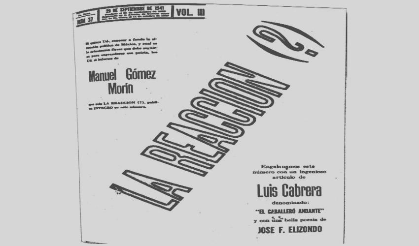 Portada de la revisa La Reacción (?), del 29 de septiembre de 1941