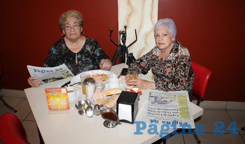 En el restaurante Mitla desayunaron Marina Elsa Juárez y Alicia Guzmán