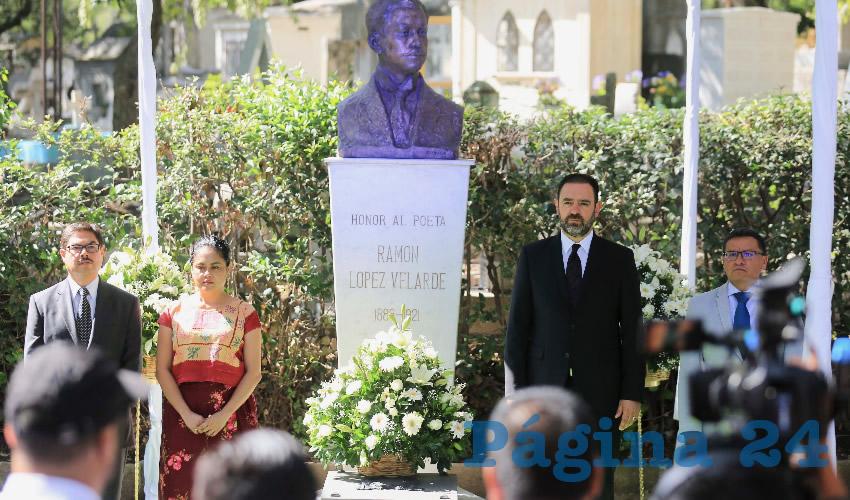 El Gobernador de Zacatecas encabezó el homenaje a la memoria del poeta jerezano en la Rotonda de los Personajes Ilustres de la CDMX