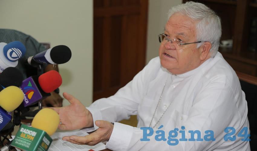 José María de la Torre Martín, obispo de la Diócesis de Aguascalientes, (Foto: Eddylberto Luévano Santillán)