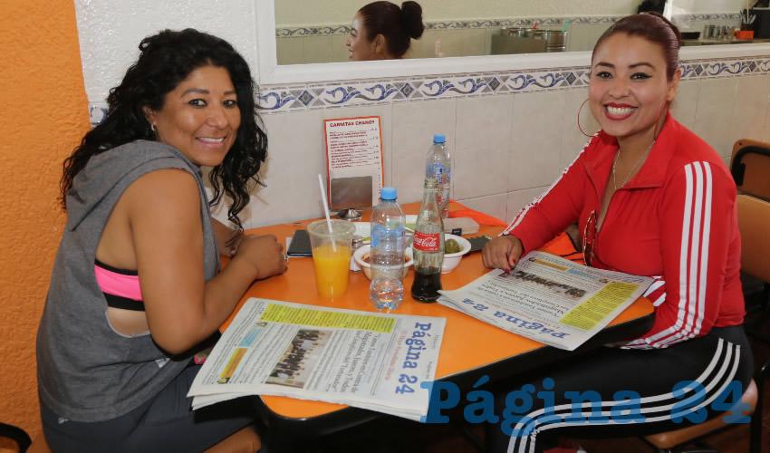 En Carnitas Chanoy almorzaron Ana María Alcantar Acevedo y Reyna Bernal Reyes
