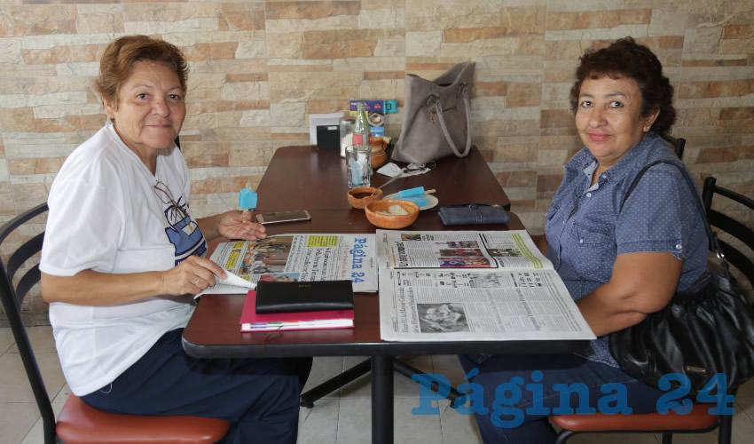 En el restaurante La Madero desayunaron Magdalena Delgado de Luna y María Antonia Calderón Díaz