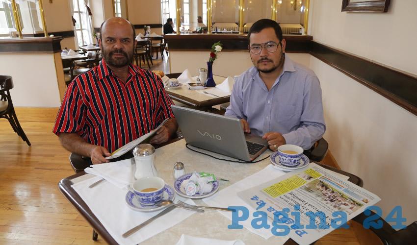 En Sanborns Francia desayunaron Jorge Orozco Sierra y Edgar Román Campos