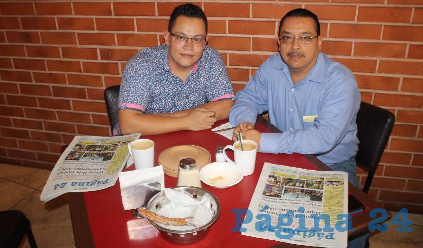 En el restaurante Las Antorchas desayunaron Luis Alfonso Flores Beltrán y su papá Luis Alfonso Flores Gutiérrez