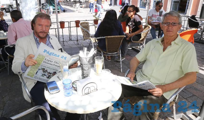 En Café Catedral desayunaron Luis Miguel Andrea, director para Europa de la Universidad de Santa Fe; y Matías Lozano, periodista