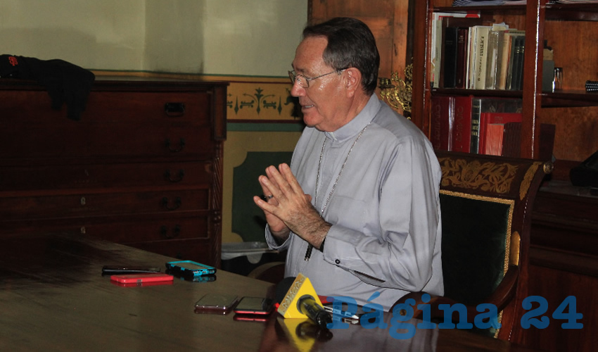 """Sigifredo Noriega Barceló, obispo de la Diócesis de Zacatecas, reiteró que como representante de la iglesia católica en la entidad está completamente en desacuerdo con el aborto legal, """"porque no es solución"""" (Foto Rocío Castro Alvarado)"""