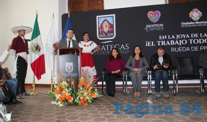 Ulises Mejía Haro, presidente municipal de Zacatecas, informó en rueda de prensa, que para este evento se trabajó durante más un año en conjunto con la Asociación Mexicana de Ciudades Patrimonio Mundial (Foto Rocío Castro)