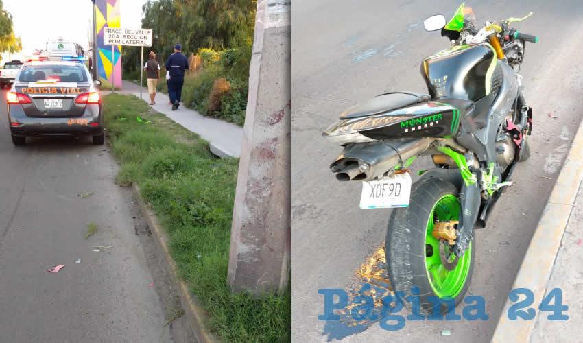 Édgar Zavala se mató al chocar su motocicleta en un poste de concreto de avenida Aguascalientes poniente