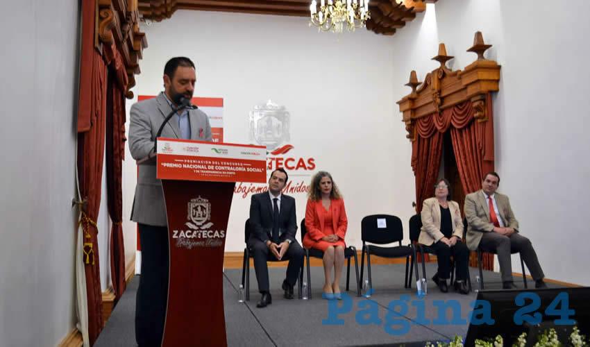 En Palacio de Gobierno se llevó a cabo la premiación del Concurso Nacional de Contraloría Social y Transparencia en Corto (Foto: Merari Martínez)