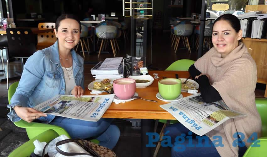 En La Terraza Italiana compartieron el primer alimento matutino Mara Rangel Magdaleno y Eva Delgado Pérez
