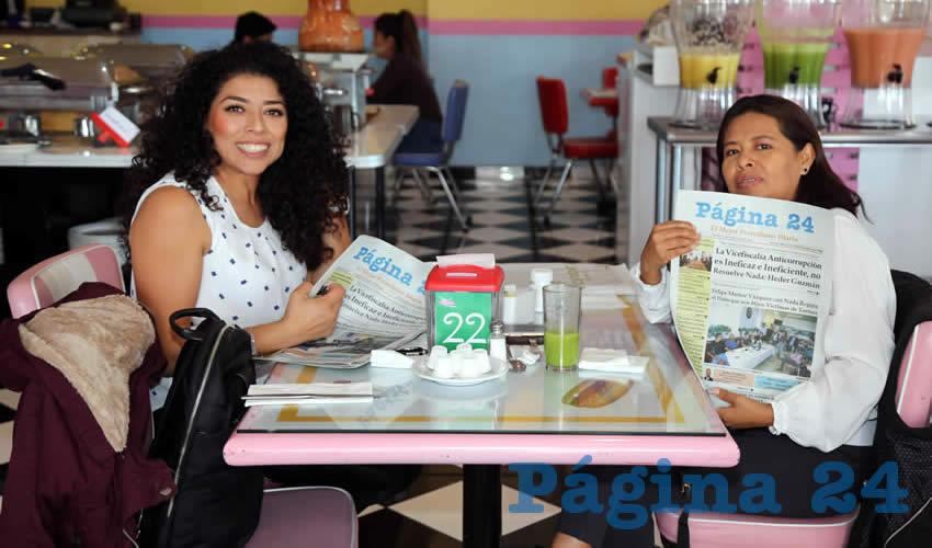 En el restaurante del Hotel Medrano desayunaron Gabriela Gutiérrez Mendoza y Abigail Hernández Espinoza