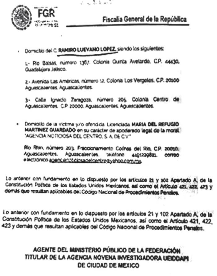 La víctima y/o ofendida Licenciada María del Refugio Martínez Guardado...