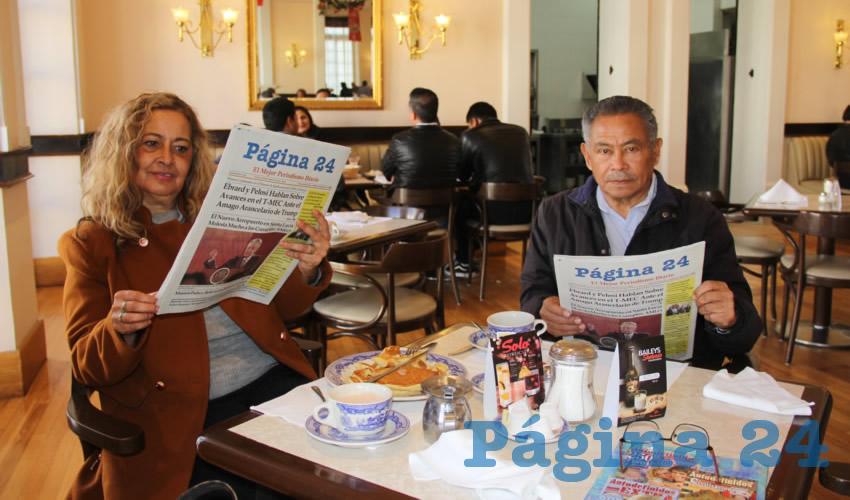 Patricia Campa Medina y José Juan Lima Joffre desayunaron en Sanborns Francia