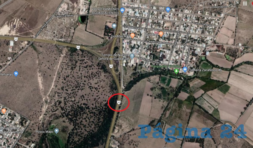 El círculo rojo indica el sitio del percance, muy cerca de Peñuelas, al norte y el bulevar al aeropuerto, al noroeste (Imagen: Google Maps)