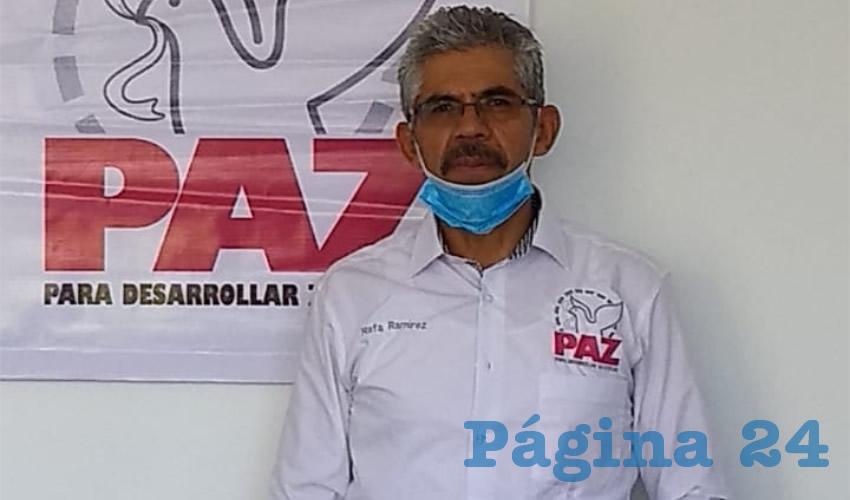 Rafael Ramírez Castro, presidente estatal del Comité Ejecutivo del Partido Político PAZ para desarrollar Zacatecas, (Foto Archivo Página 24)
