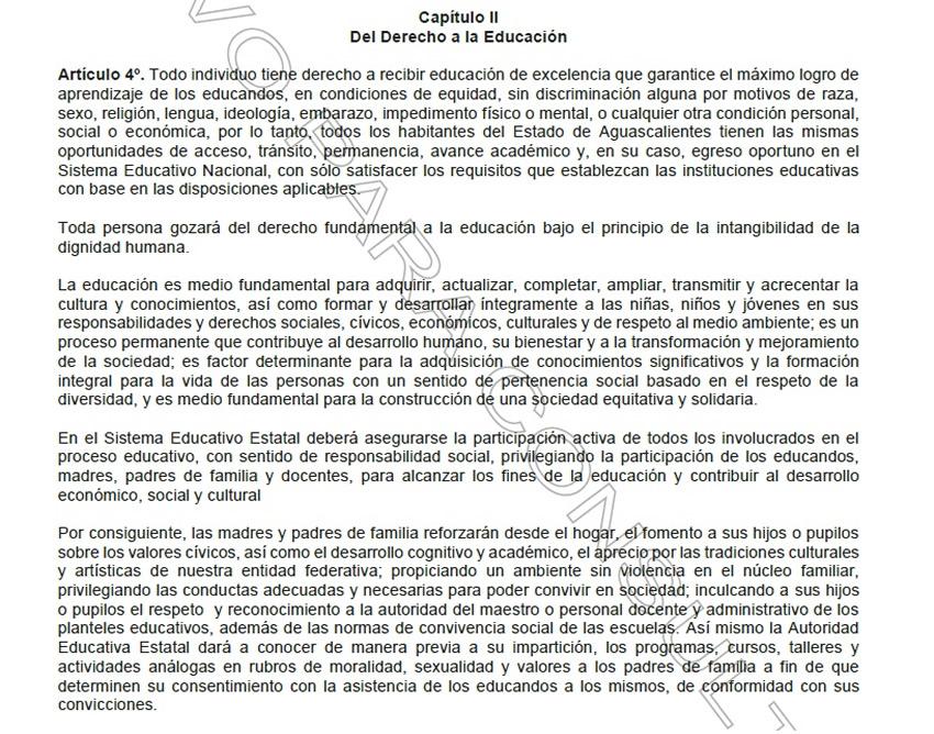 El contradictorio artículo 4° de la Ley de Educación del Estado de Aguascalientes, cuyas reformas se publicaron ayer en el Periódico Oficial