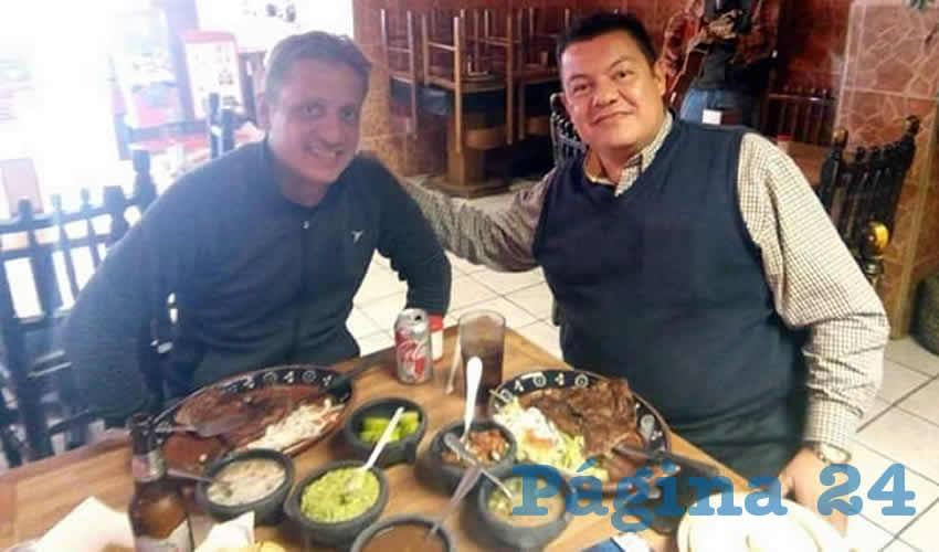 José y Julio López Santana almorzaron en el restaurante Los Portales, Calvillo