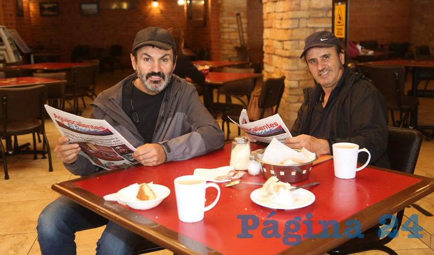 En Las Antorchas desayunaron los hermanos Gerardo Medrano de Luna y Gustavo Medrano de Luna