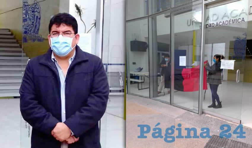Jesús Adrián López tomó de manera simbólica las instalaciones de la Unidad Académica de Ciencias Biológicas de la Benemérita Universidad Autónoma de Zacatecas (BUAZ) (Foto Merari Martínez)