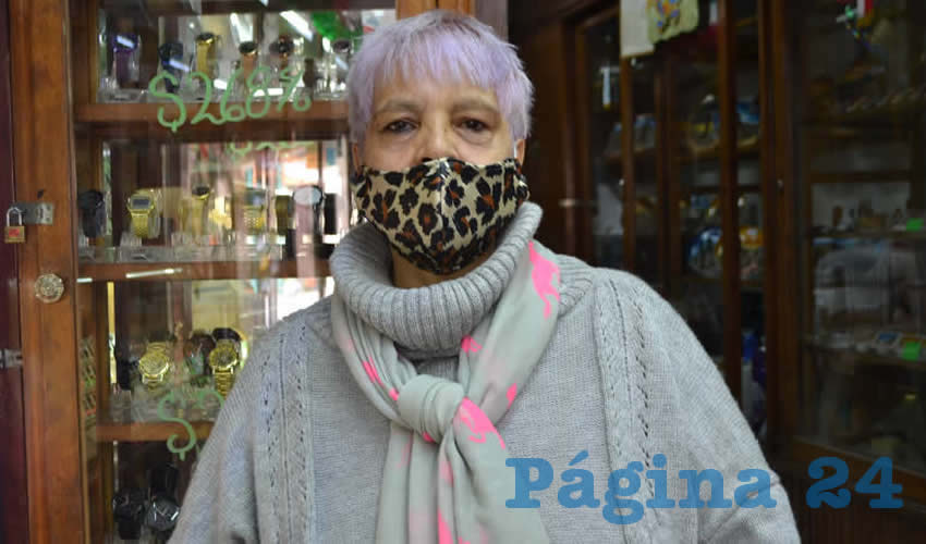 María de Lourdes Velasco Gómez, líder de comerciantes del Centro Histórico (Foto Merari Martínez)