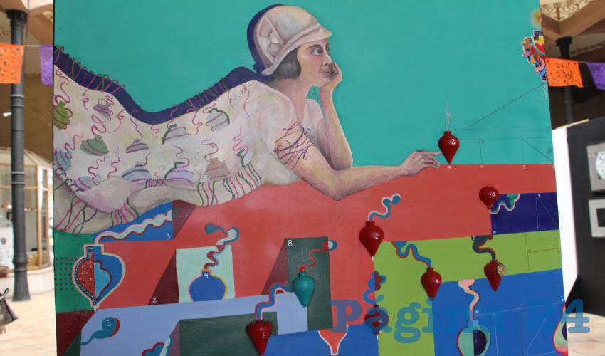 """Al interior del Mercado Jesús González Ortega se presenta la exposición colectiva """"Arte y Utopías de Graciela Amador"""", con un conjunto de obras que, a través de la pintura, el dibujo al grafito y el grabado, toman como inspiración la temática de las marionetas y los títeres que promoviera la multifacética escritora, hija del historiador Elías Amador, sobre el arte popular infantil en nuestro país (Foto: Rocío Castro Alvarado)"""
