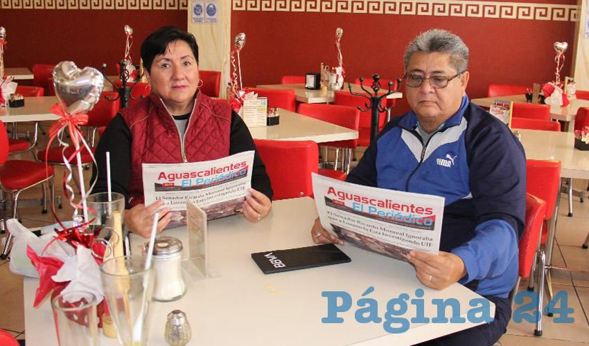 En el restaurante Mitla desayunaron Adriana Hernández y Ricardo Rivas Acosta